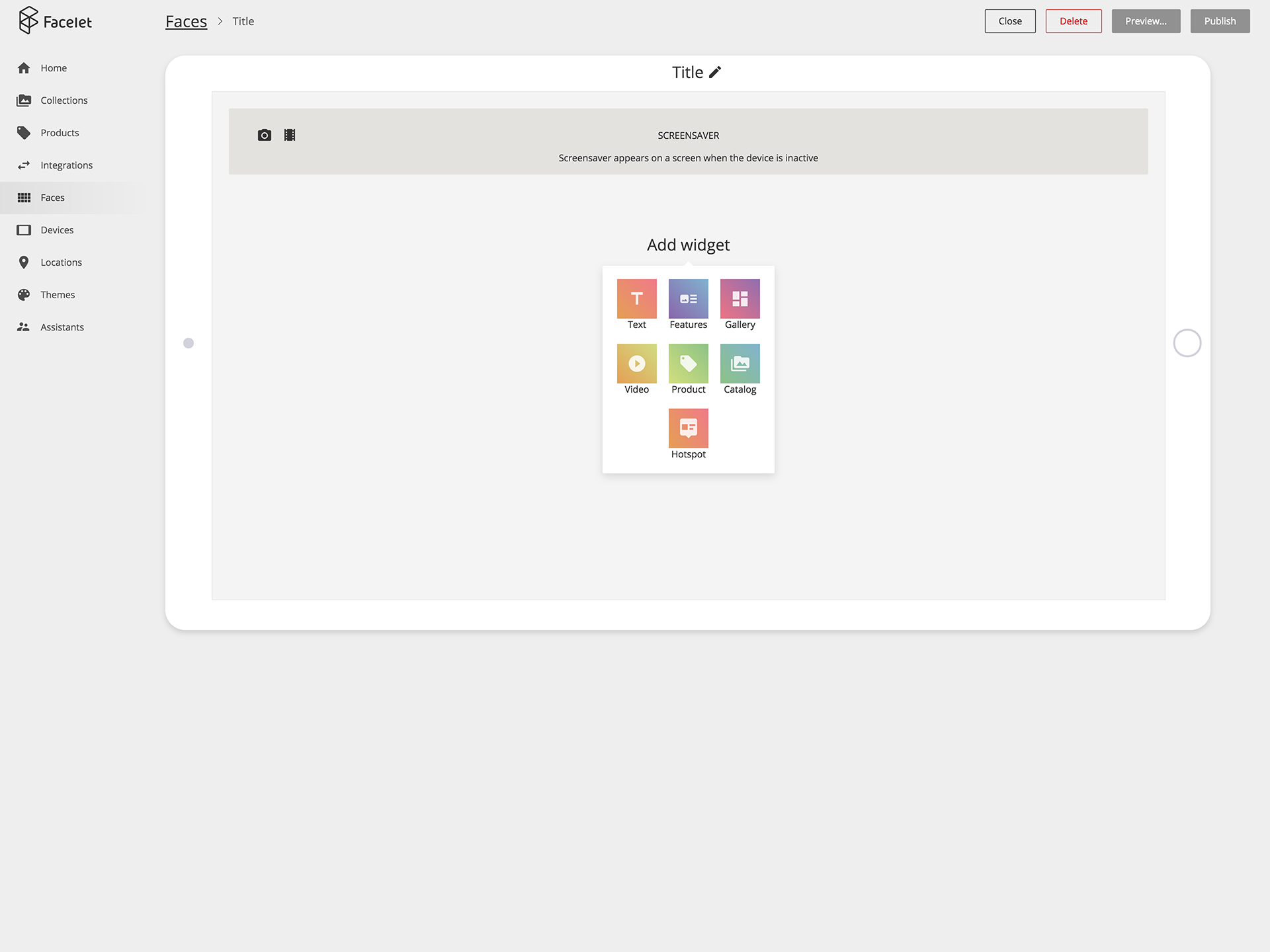 Widgets creation and management screen