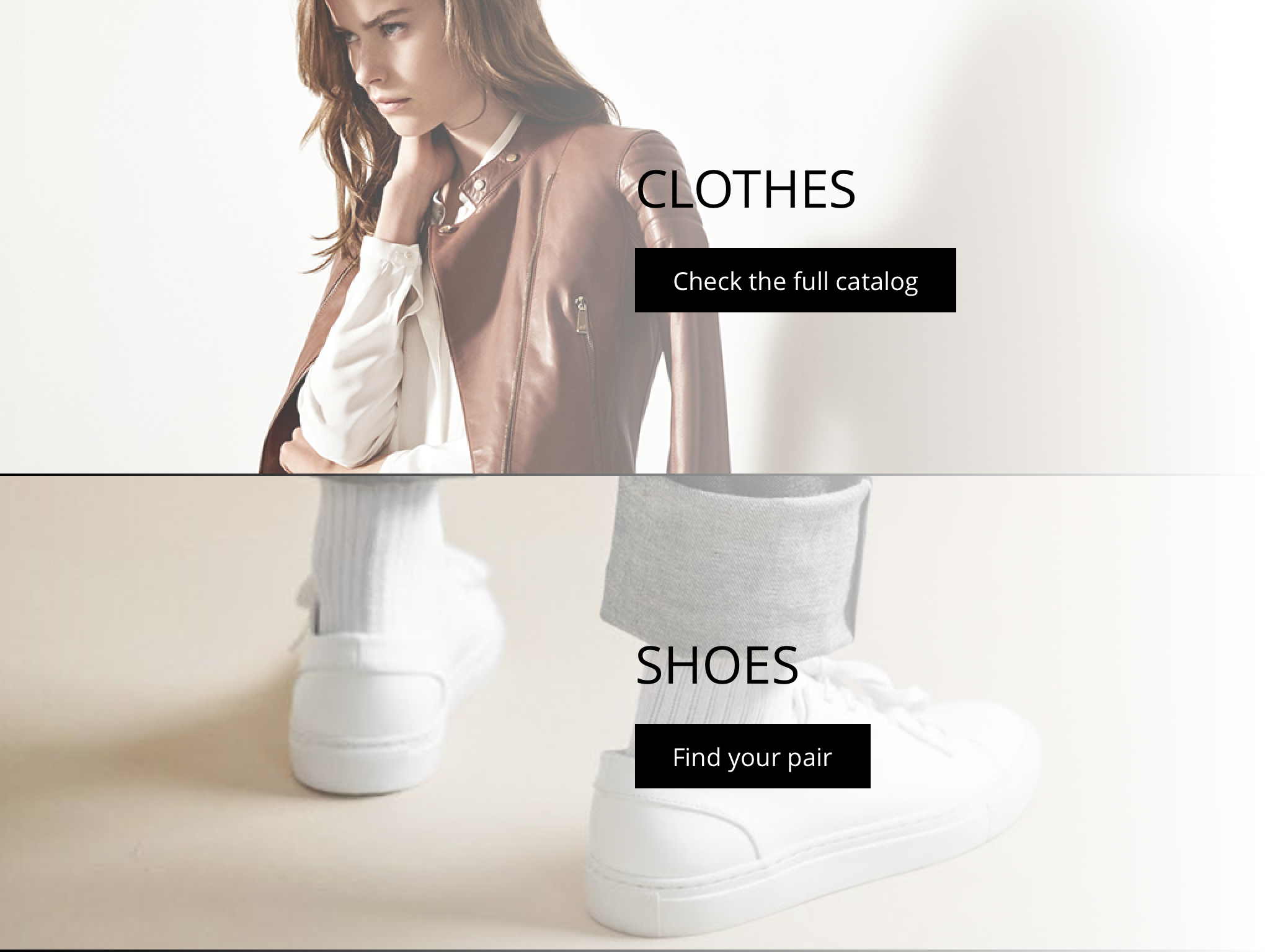 Clothes and shoes categories selection