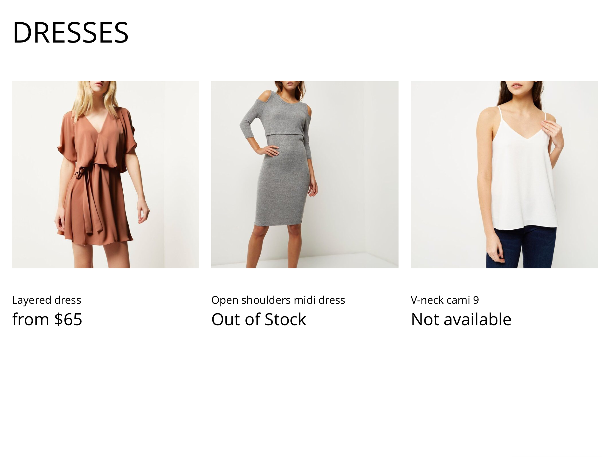 Dresses collection on kiosk