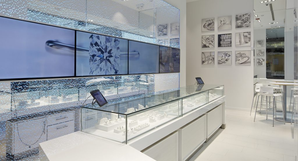 Blue Nile jewelry store with interactive kiosks on tablets