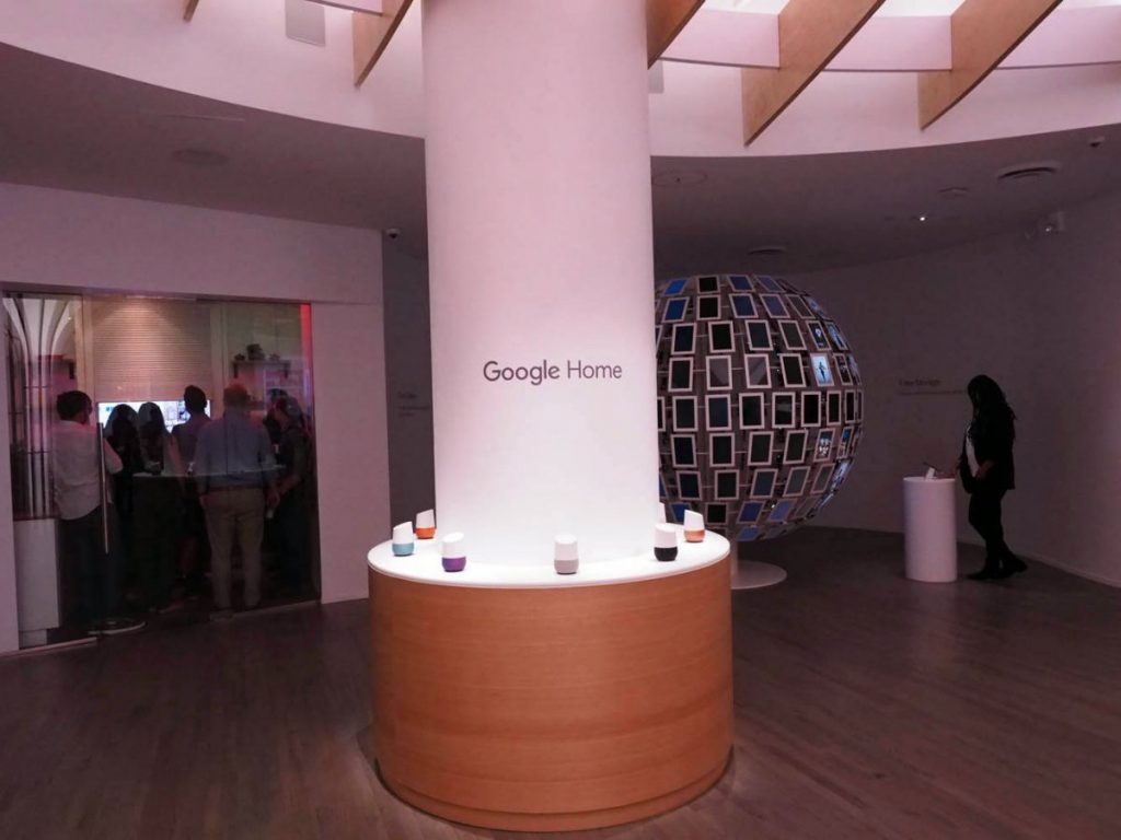 Google Home smart speakers at Google offline pop-up store in NY
