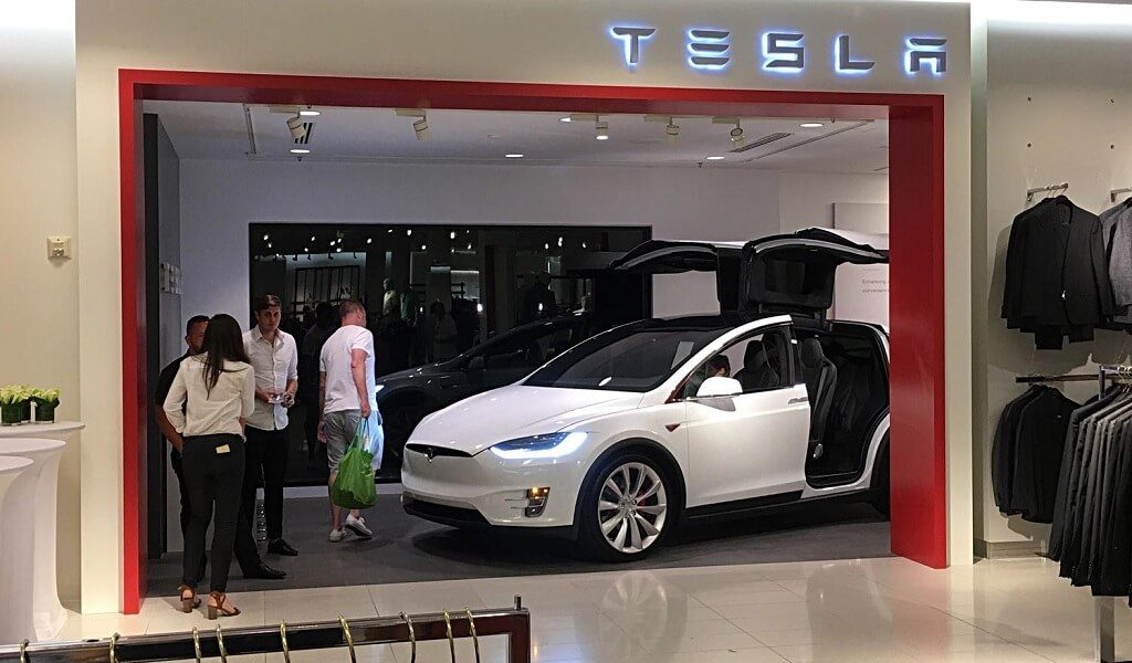 A Tesla showroom at Nordstrom store