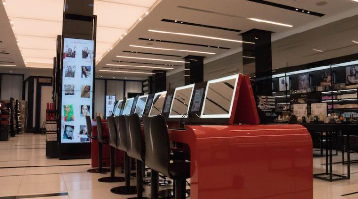 Sephora store with interactive screens which help customer choose the right beauty product