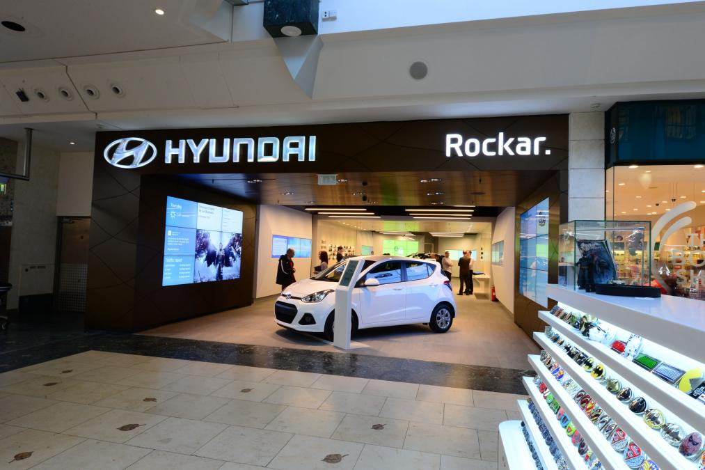 A Hyundai automobile in the showroom at a shopping mall