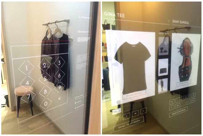 there are two walls with digital touch screens which present the customers clothes